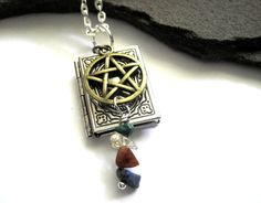 Book of Shadows Pentacle Locket Necklace