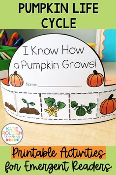 With the arrival of fall, comes the fun, hands-on pumpkin life cycle activities! My preschool, kindergarten, and first grade students love these low-prep, printable pumpkin activities! With a pumpkin life cycle flip book, sequencing cards, vocabulary cards, and a colorful crown your centers, small groups, or station work will be packed with loads of fall fun!