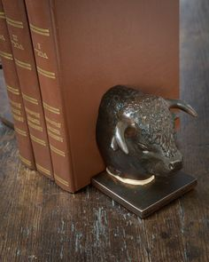 Jan Barboglio Prize Bull Buffalo Bookends | #buffalo, #iron, #homedecor | $612 | thepicketfence.com