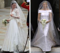 royalroaster:  Royal Gowns and Bouquets-Duchess of Cambridge, 2011; Princess Charlene, 2011