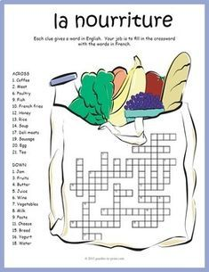 French Food Vocabulary - Crossword Puzzle: A crossword puzzle featuring 24 French vocabulary words having to do with food. Puzzlers are given the word in English and must fill in the puzzle with the corresponding French words. French Teaching Resources, Teaching French, Learn French Fast, French Worksheets, Food Vocabulary, Core French, French Education, French Grammar, French Classroom