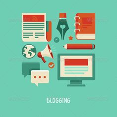 Blogging and Writing Fflat Icons