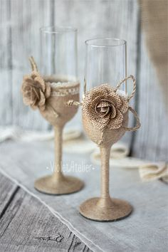 Burlap rose wedding flute, rustic champagne flutes, burlap lace glasses