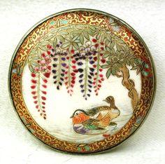 Antique Meiji Satsuma Button 2 Water Bird & Wisteria in Metal Back Mark 1…