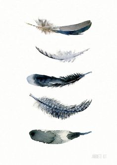 Feather art print from original watercolor painting door TheClayPlay