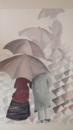 """Items similar to Alternative view of Gustave Caillebotte's """"Rainy Day in Paris"""". 11 x 15 Kilimonjarmo Watercolor Paper on Etsy Black Umbrella, Umbrella Art, Parasols, Umbrellas, Rainy Day Pictures, Cute Paintings, Singing In The Rain, April Showers, Pretty Cool"""