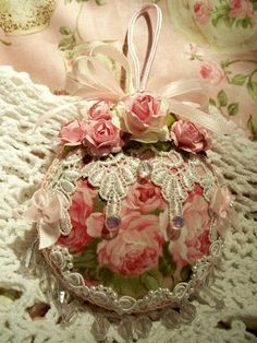 Shabby Christmas Ornament Pink Cabbage Rose Fabric Pearls Venise Lace Chic | eBay