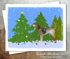 American English Coonhound Dog Christmas Card from the Breed Collection - Digital Download  Printable