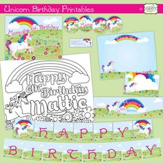 Unicorn DIY Printables Party Set by bndesigns on Etsy  #invitations #invites #partyfavors
