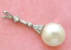 South Seas, South Sea Pearls, Baguette Diamond, Pearl Pendant, Large White, Pearl Jewelry, Drop, Antiques, Vintage