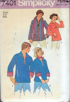 "Vintage 1976 Simplicity 7401 Misses Retro Pullover Top Sewing Pattern Size Small 8-10 Bust 31 1/2"" - 32 1/2"" UNCUT by Recycledelic1 on Etsy"
