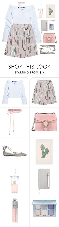 """""""Untitled #1446"""" by timeak ❤ liked on Polyvore featuring Jacquemus, MSGM, Gucci, Jimmy Choo, Wilder California, Kate Spade, ICE London, Christian Dior and Anastasia Beverly Hills"""