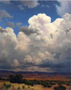 Landscape Oil Painting of a Cumulus Cloud Over a Yellow Field: This luminous cloud was created entirely from imagination, and has a surreal, dreamy quality and an amazing radiant light. Description from pinterest.com. I searched for this on bing.com/images