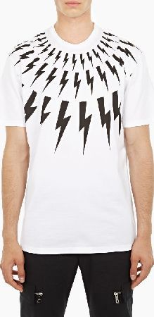 Neil Barrett White Lightning Bolt T-Shirt The Neil Barrett Lightning Bolt T-Shirt for AW16, seen here in white. - - Featuring the designer™s signature lightning bolt motif to the chest and shoulders, this t-shirt from Neil Barrett is crafted  http://www.comparestoreprices.co.uk/january-2017-6/neil-barrett-white-lightning-bolt-t-shirt.asp