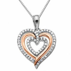 T.w. Diamond Triple Heart Pendant in Sterling Silver and 14K Rose Gold ae8534d2a6d76
