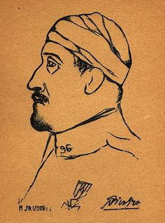 Guillaume Apollinaire (wounded at  WWI)  by Picasso