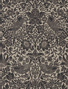 """This wallpaper exquisitely showcases one of Morris & Co.'s most sought-after patterns, """"Strawberry Thief"""", influenced by the thrush's that would fly in and steal the fruit right out of famed Arts & Crafts textile designer William Morris' Wallpaper Direct, Modern Wallpaper, Home Wallpaper, Wallpaper Ideas, Artistic Wallpaper, Feature Wallpaper, Bedroom Wallpaper, Computer Wallpaper, Outdoor Material"""