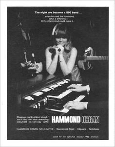 Hammond Organ Advertisement (that's right kiddies, every family on your block had an organ, it was the hottest thing going) Hammond Organ, The Hammond, Leslie Speaker, Organ Music, Free Brochure, Vintage Graphic Design, Jazz Blues, Old Ads, Vintage Guitars