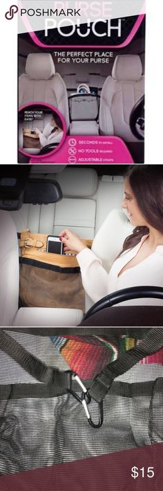 Purse pouch holds your bag in place while driving! Total life saver! Prevents your bag from falling over in the backseat by clipping the pouch to your seatbelts in the back. Great for any mom worried about their new teen driving. Or any girl who is tired of the bags filling out when they take a turn! HSN Accessories