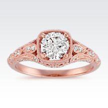 ShaneCo.com: Diamond Vintage Engagement Ring with Milgrain Detailing in 14k Rose Gold