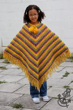 With the winter season upon us, it's an ideal opportunity to complete a snappy round-up of free sew poncho designs for ladies. Ponchos are one of the least… Crochet Poncho Patterns, Crochet Cardigan, Crochet Scarves, Crochet Shawl, Crochet Clothes, Scarf Patterns, Knitted Shawls, Crochet Girls, Crochet For Kids