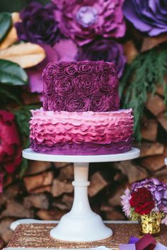 Loving the ruffled ombre cake at this rustic garden Christmas party!! See more party ideas and share yours at CatchMyParty.com