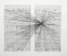 Is there a connection between sound, vibrations and physical reality? Drawings by Marco Fusinato