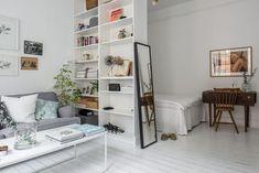 Studio apartment with a dividing bookcase