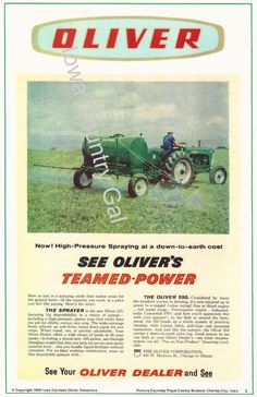 NEW OLIVER TEAMED POWER LAMINATE SIGN/WALL HANGING W/ OLIVER 550 TRACTOR SPRAYER #Oliver