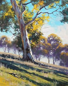 Australian Gum Tree My Originals can be purchased from my website www.landscape-paintings-austra… Commissioned Paintings also Accepted, any size . Watercolor Trees, Watercolor Landscape, Landscape Paintings, Watercolor Paintings, Original Paintings, Paintings Of Trees, Parcs, Cool Landscapes, Australian Artists