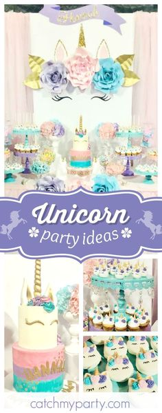 Take a look at this beautiful Unicorn themed birthday party! The backdrop is stunning!! See more party ideas and share yours at CatchMyParty.com #unicorn #girlbirthday