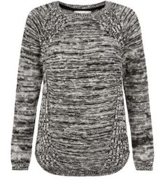 Black and Grey Flecked Slub Biker Jumper