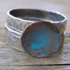 Sterling and Copper Stacking Rings Set  Colored by MixedMetals, $78.00