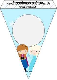 Bandeirinha Sanduiche Frozen Cute Roxo e Azul