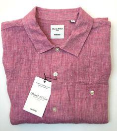 NEW Murano Baird McNutt Linen Red Short Sleeve Shirt - Size L #Murano…
