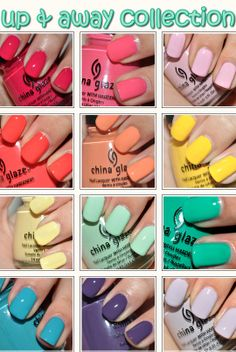 I wouldn't mind having almost all of these.   China Glaze Up & Away Collection First row: Heli-Yum, Sugar High, Something Sweet  Second row: High Hopes, Peachykeen, Happy Go Lucky  Third row: Lemon Fizz, Four Leaf Clover, Re-Fresh Mint  Fourth row: Flyin' High, Grape Pop, Light As Air