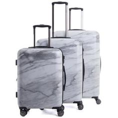 Travel in style with this 3-piece luggage set. - Lightweight and durable hard-shell body - Large main compartment - Push-button heavy duty handle system - Eight 360-degree spinner wheels - Mounted TSA