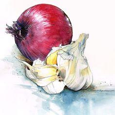 Still Life Painting Onion and Garlic - 8x8 Archival Print. $20.00, via Etsy.