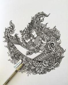Royal Water Festival by Visoth Kakvei Cool Art Drawings, Art Sketches, Pencil Art, Pencil Drawings, Thai Design, Thai Tattoo, Thai Art, Black And White Drawing, Doodle Art