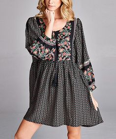 Another great find on #zulily! Black Floral-Panel Scoop Neck Tunic Dress #zulilyfinds