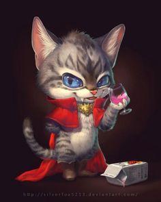 #Dessin illustration #Chat #Vampire par Silverfox5213