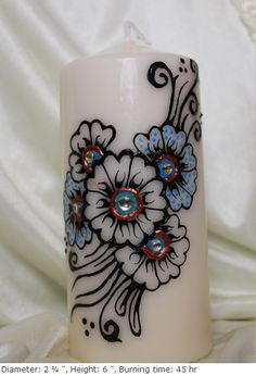 Personalized Handpainted henna candles with blue by ArtbyMeena, $15.00