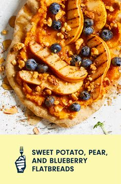 A smear of mashed sweet potato gives a sweet-and-savory base for a flatbread that's perfect to start the day or enjoy as a snack. Our simple Homemade Oil-Free Pizza Dough makes for a light, healthy crust. Loaded Baked Potatoes, Mashed Sweet Potatoes, Healthy Meals To Cook, Healthy Cooking, Vegan Casserole, Cooking Courses, Food Science, 30 Minute Meals, Learn To Cook