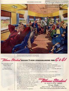 Pullman-Standard builds 2 new Chicago Streamliners 1946 Eastern Illinois, Southern Illinois, Chicago Illinois, Train Posters, Railway Posters, Train Car, Train Travel, Gi Joe, Railroad Companies