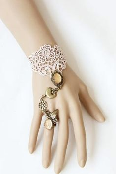 Ladylike Exquisite Style Multielement Pendant Embellished Lace Bracelet With Ring For Women Flower Pattern Cut Out, Pattern Cutting, Flower Patterns, Diy Bracelets And Rings, Bangle Bracelets, Bangles, Lace Bracelet, Vintage Lace, Vintage Style