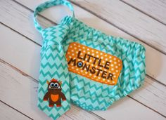 Diaper Cover and Little Guy Tie - Little Monster Li'l Monster - Aqua, Orange, Brown Chevron with Dots Little Guy Tie and Diaper Cover - Little Monster Party, Cake Smash, Photo Prop