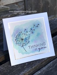 Dandelion Wishes. ink, water and aqua painters for flower background. StaZon black ink for flower, then versamark for white puffy parts. Handmade Birthday Cards, Greeting Cards Handmade, Dandelion Wish, Stamping Up Cards, Get Well Cards, Watercolor Cards, Watercolour, Sympathy Cards, Creative Cards