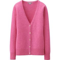 UNIQLO Women Cashmere V Neck Cardigan ($100) ❤ liked on Polyvore featuring tops, cardigans, pink, button down cardigan, vneck cardigan, slim fit cardigan, slimming tops and button down tops