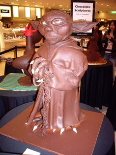 Chocolate Yoda  This chocolate masterpiece was on display in 2006 in Australia. Created by TAFE students, it was every Star War's chocolate dream.