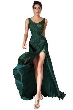 04c390737775 eDressit 2014 New Green V-Neck High Slit Evening Gown(00145704) Green  Evening